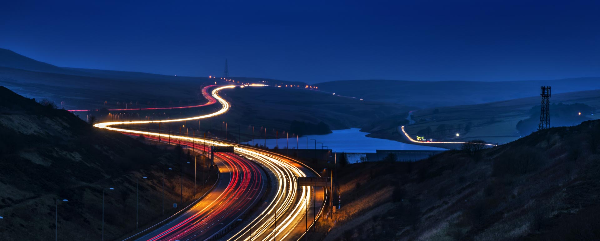 Scenic view of the roads at night