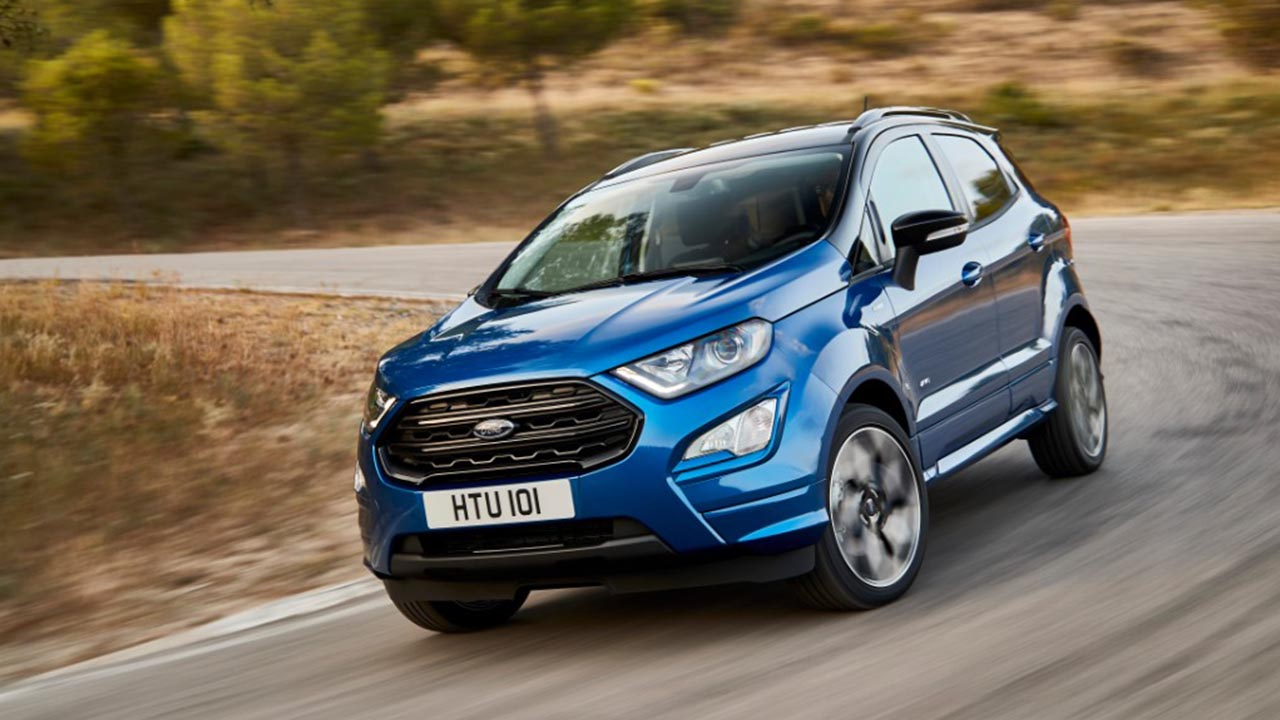 blue ford ecosport, front, parked
