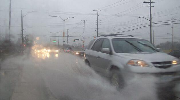 Car splashing water