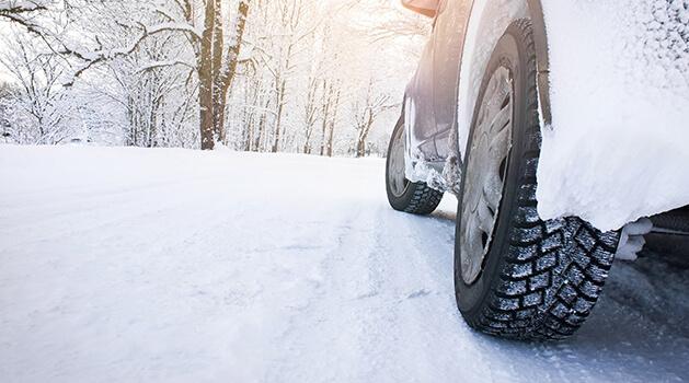 Car wheel in the snow