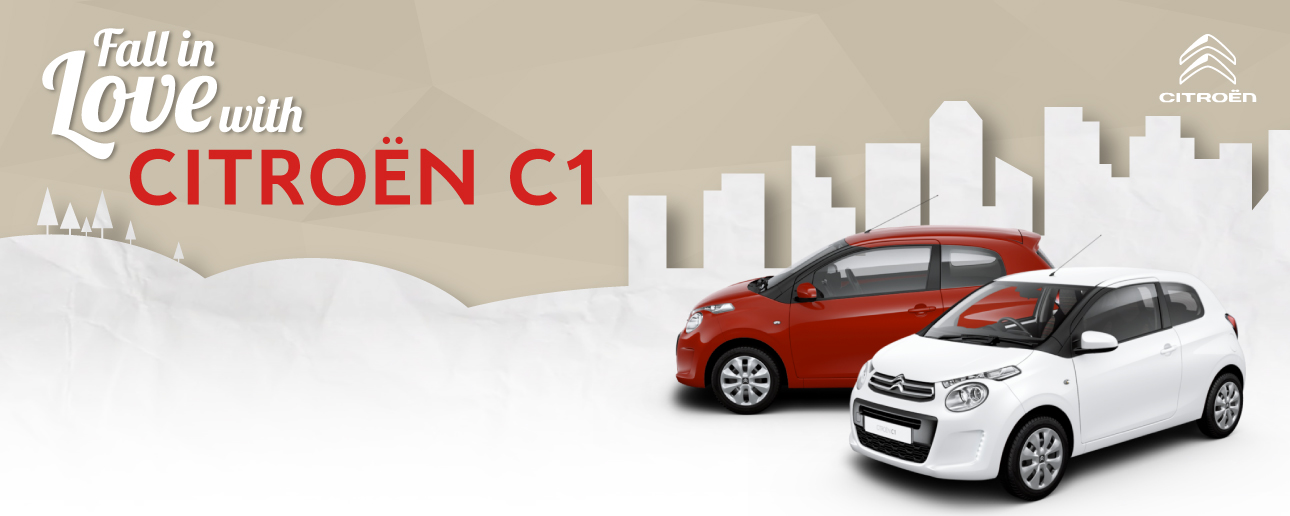 Red and White Citroen C1