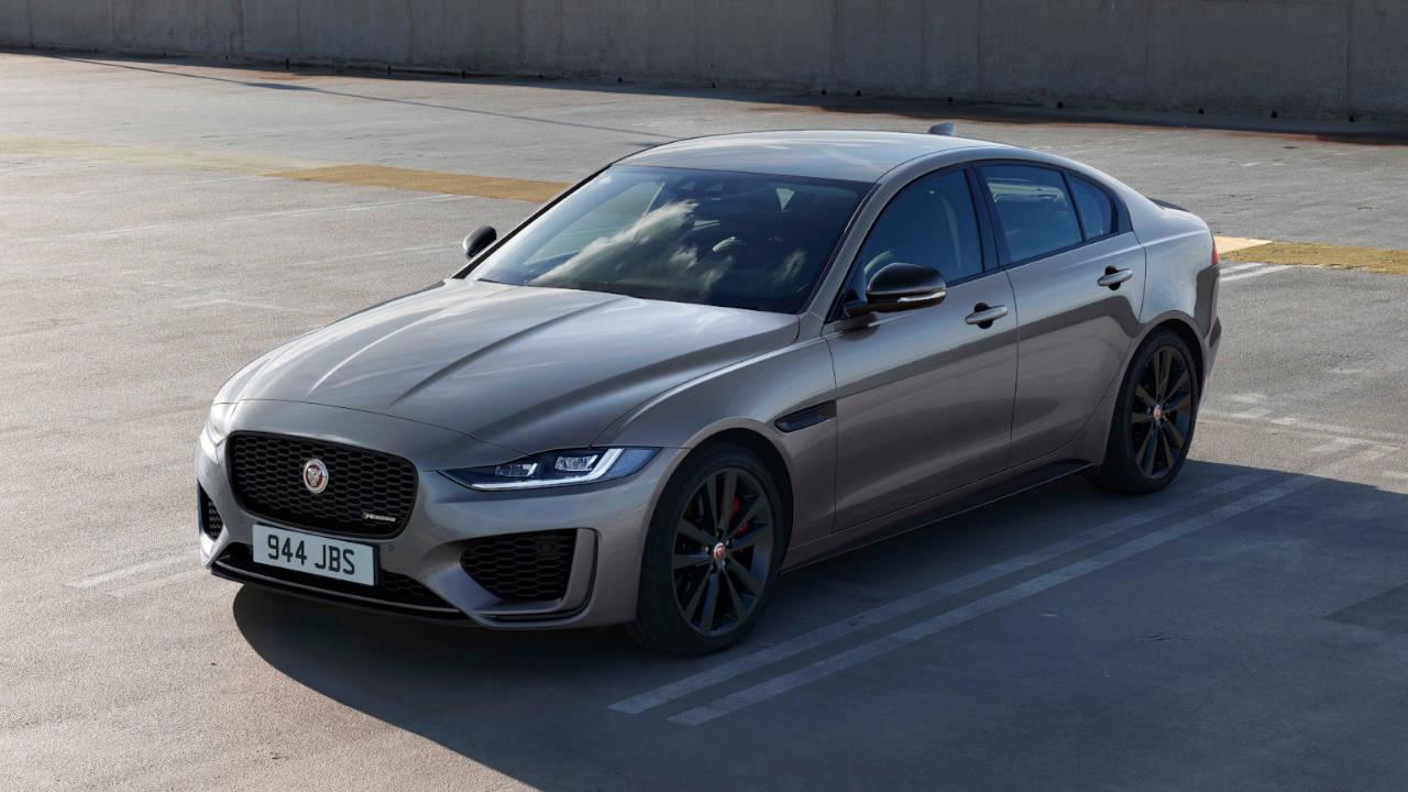 Grey Jaguar XE, parked