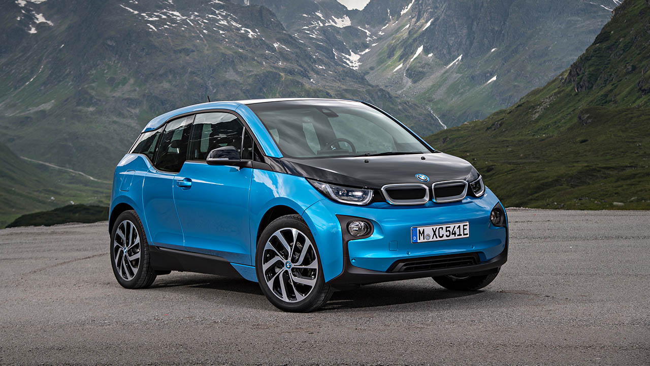 blue bmw i3, parked