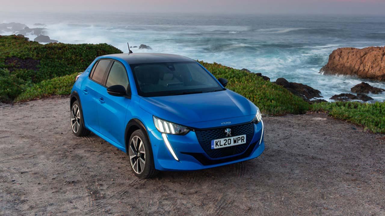 blue peugeot e-208, parked