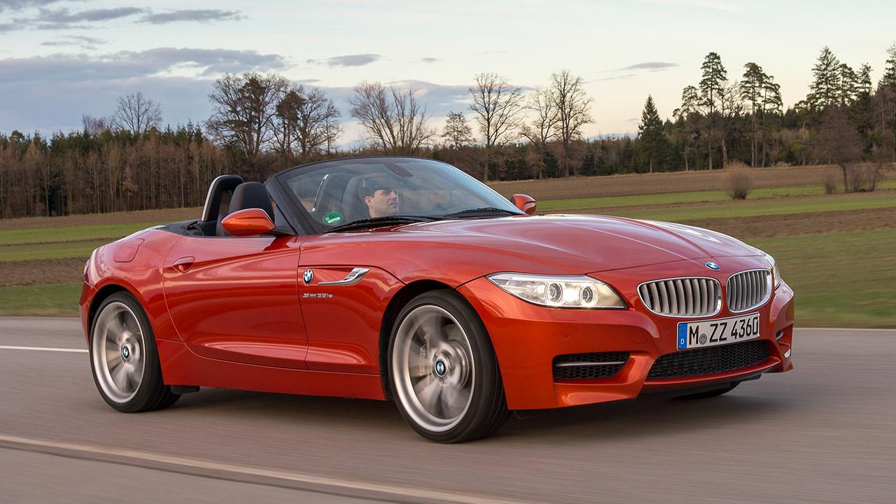 Orange BMW Z4, driving