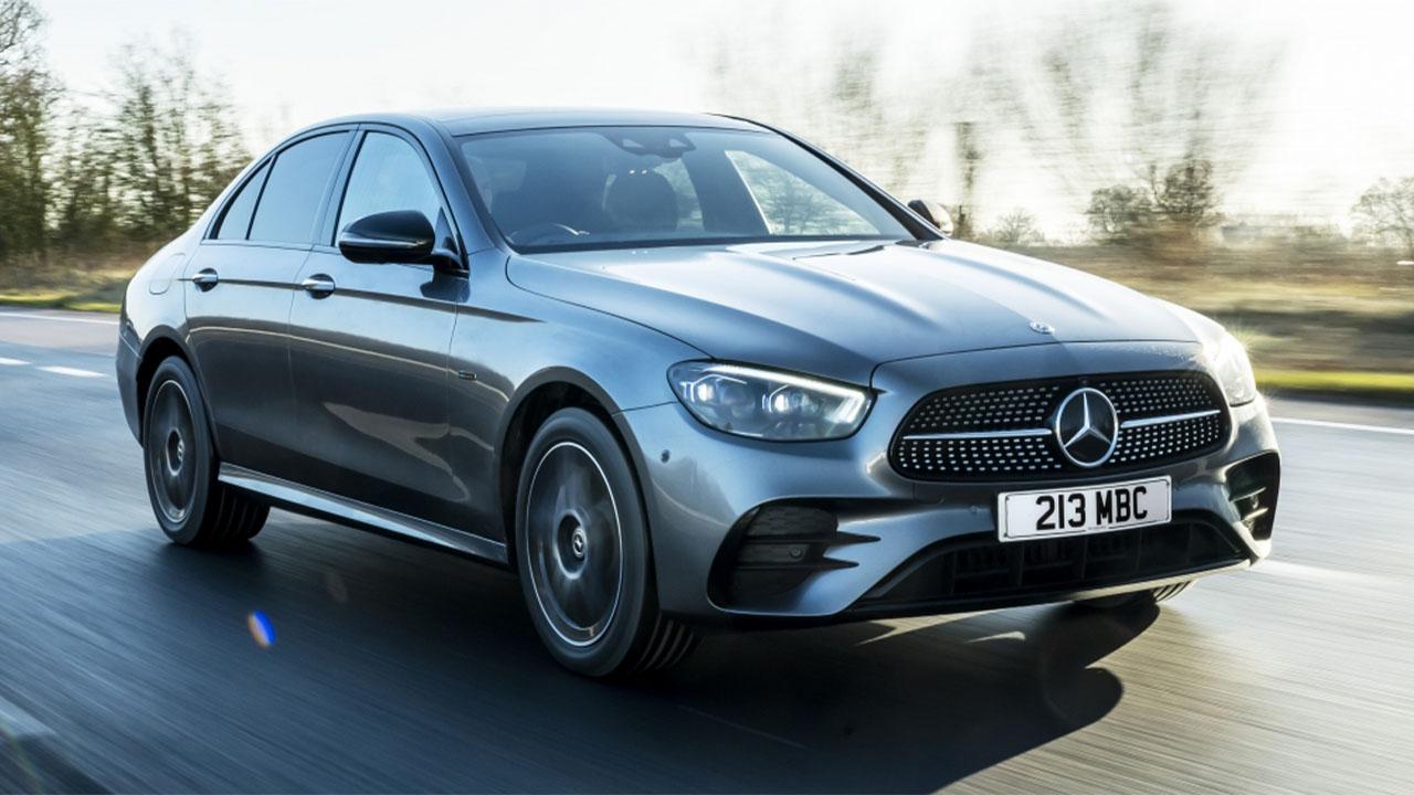 Grey Mercedes-Benz E-Class, driving