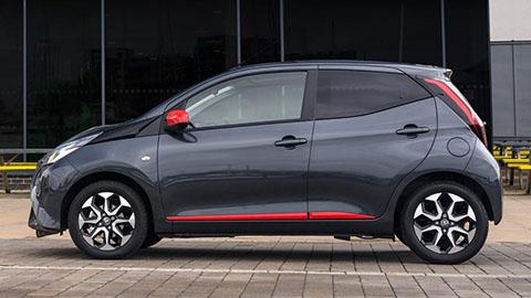 Grey Toyota AYGO, parked, side profile