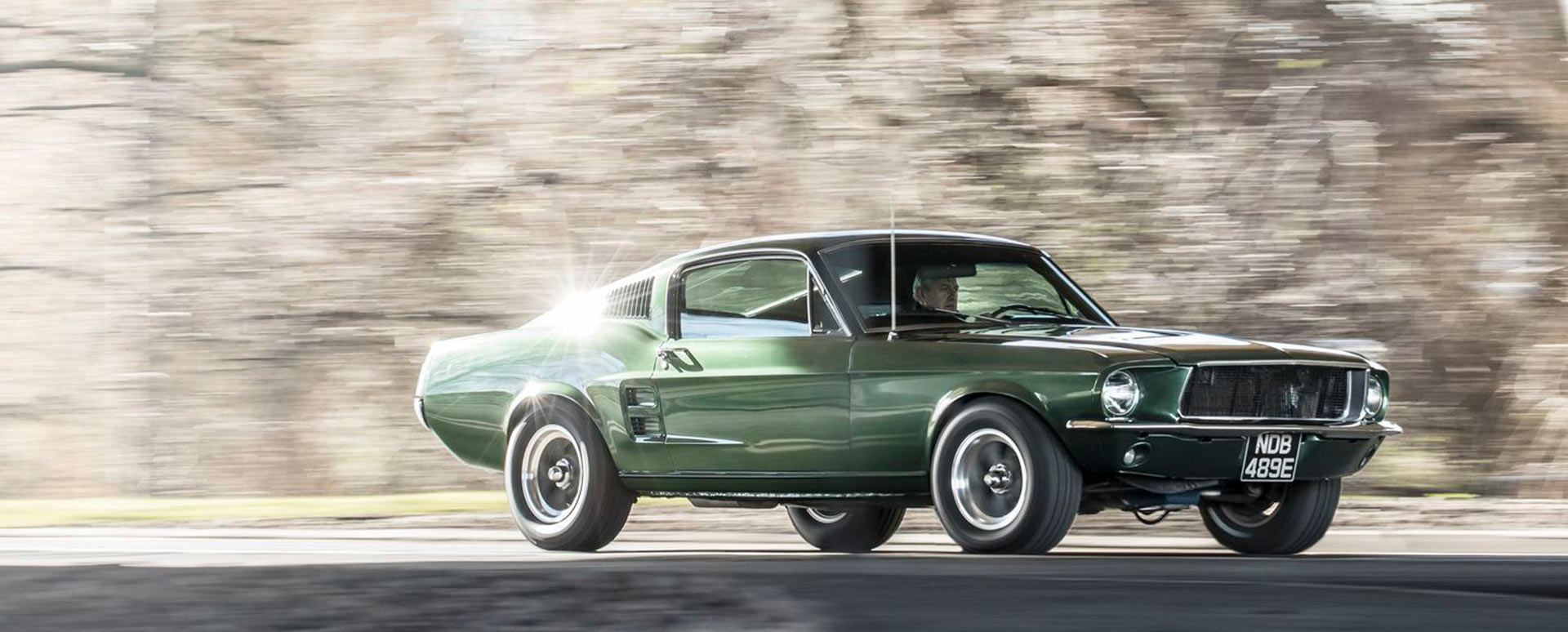 green ford mustang fastback