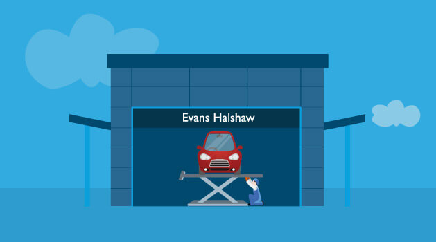 car being serviced at evans halshaw