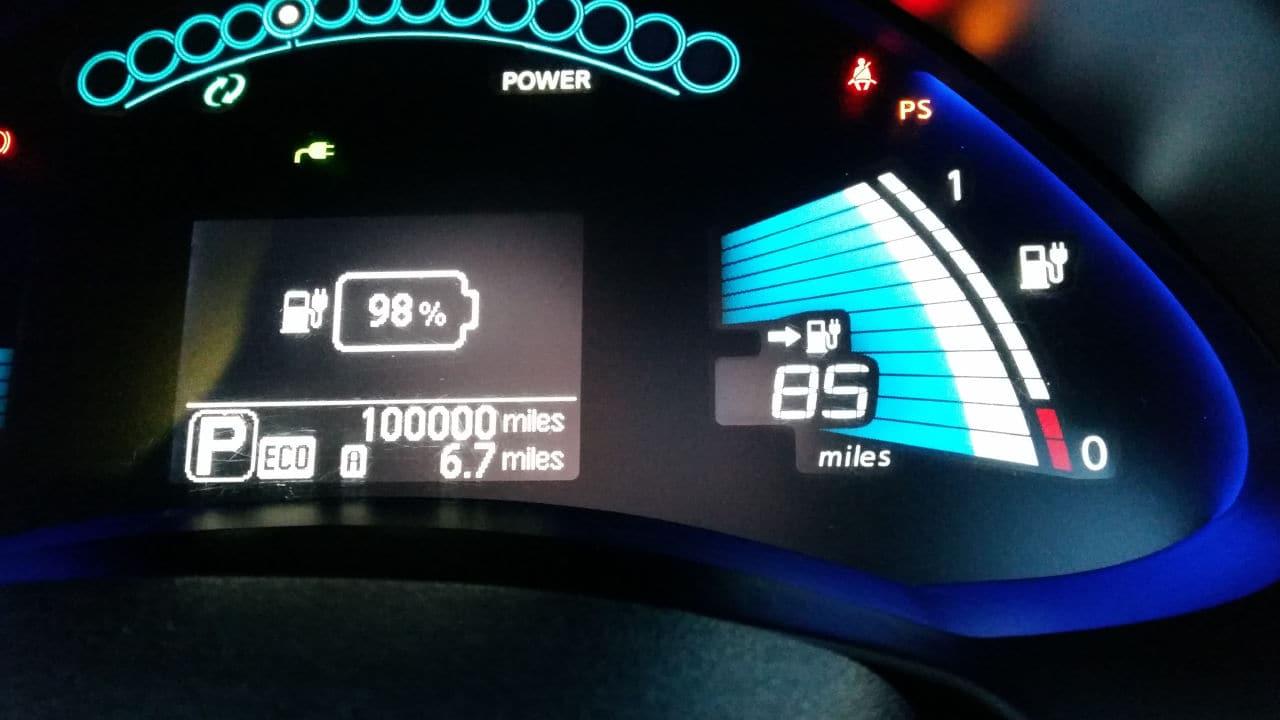 High mileage Nissan LEAF Dashboard