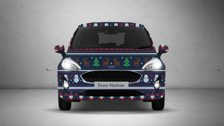 Car Wrapped in Christmas Jumper
