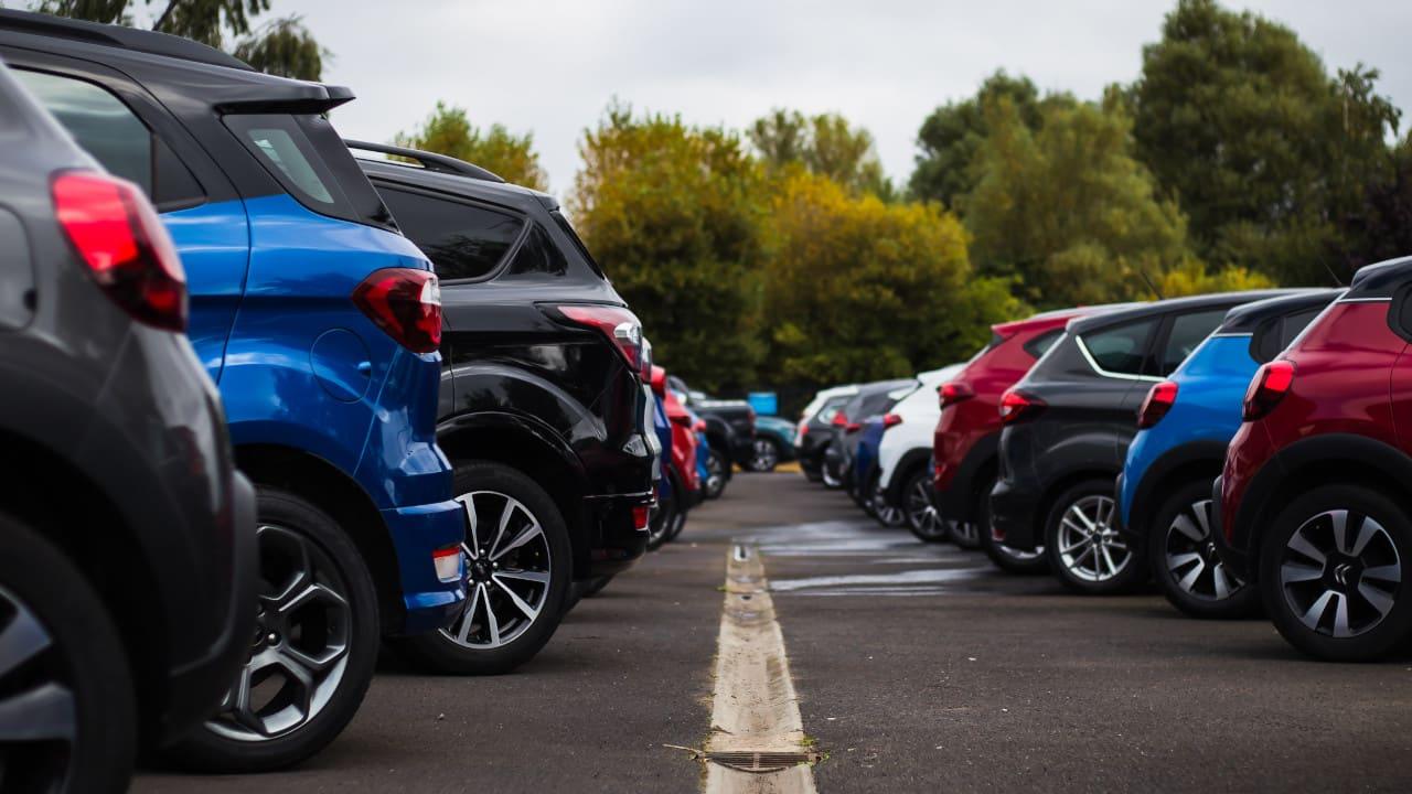 Row of Cars From Rear