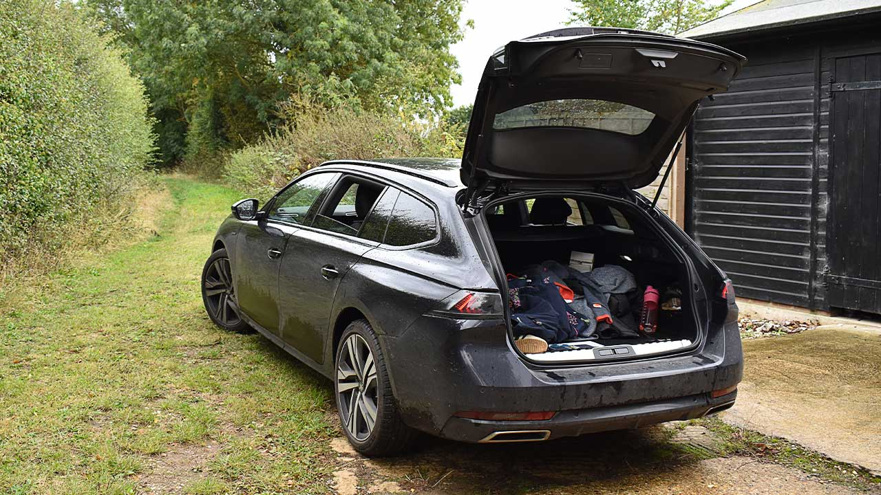 peugeot 508, rear, parked, boot open