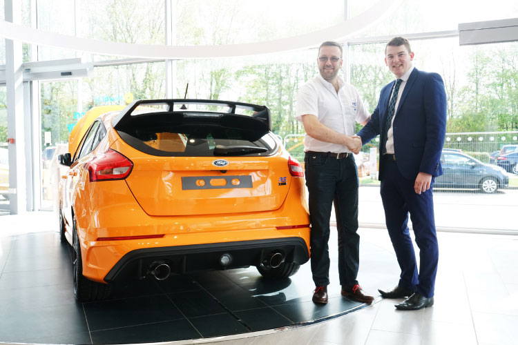 Paul Bury collecting his Ford Focus RS Heritage Edition from our Evans Halshaw Ford dealership