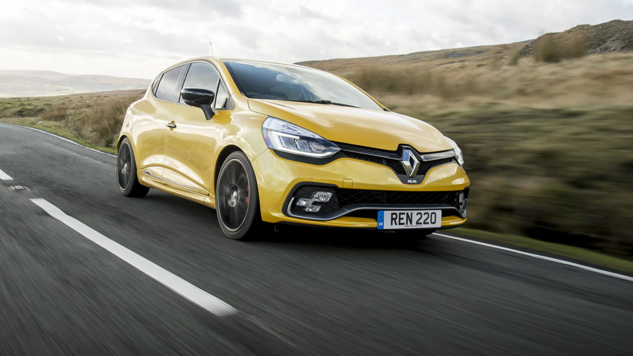 Yellow Renault Clio IV Renault Sport Driving