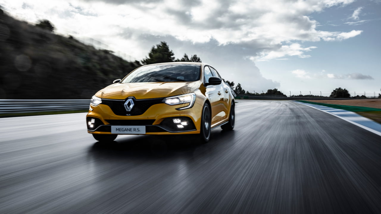 Yellow Renault Megane IV Renault Sport Driving