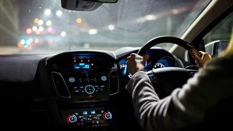 Female Driving at Night
