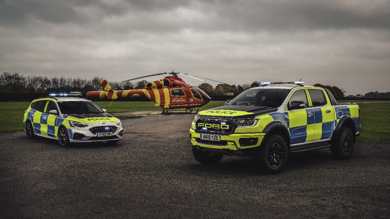 Ford Focus ST and Ford Ranger Raptor, police cars