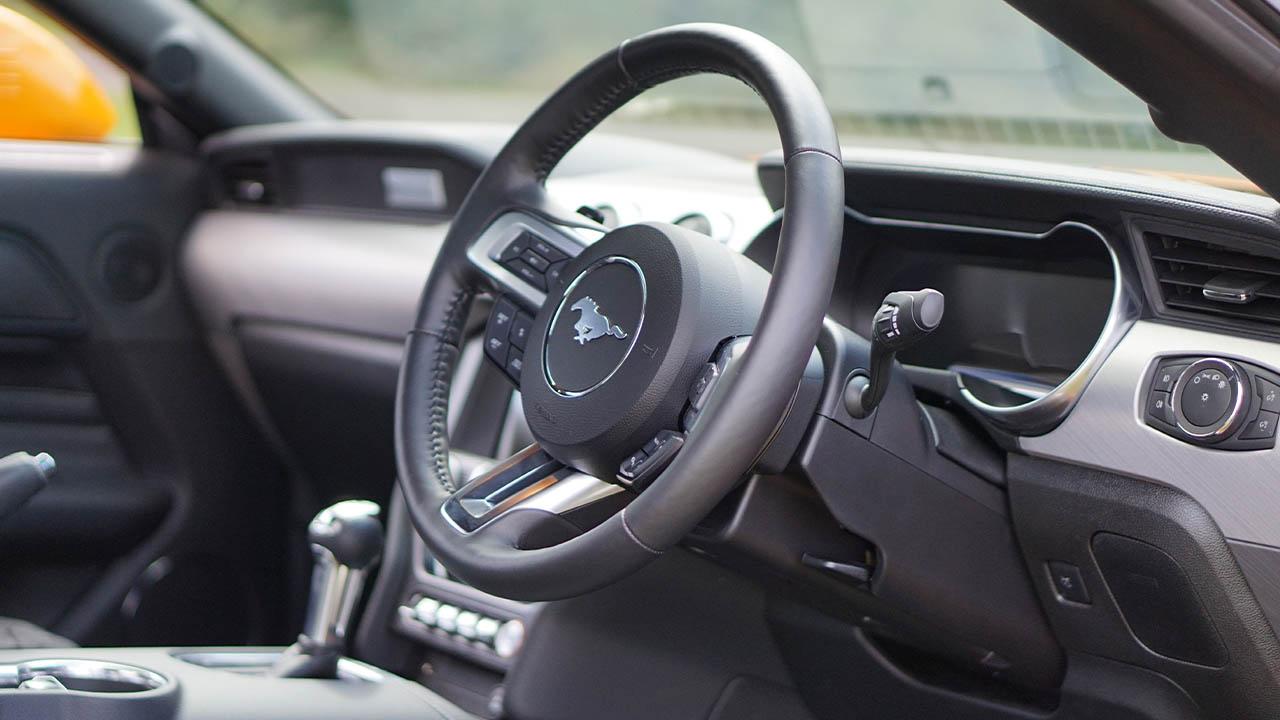 orange ford mustang steering wheel