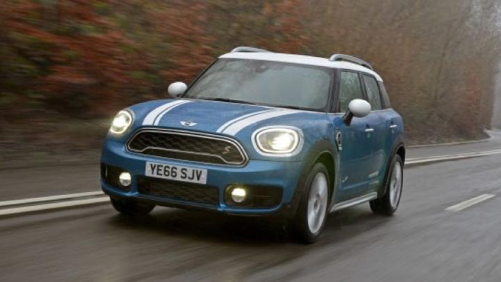 Blue Mini Countryman Driving in the Rain