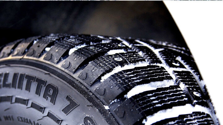 A Tyre with Snow in Tread