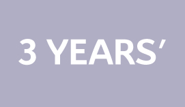 lilac background with 3 years written