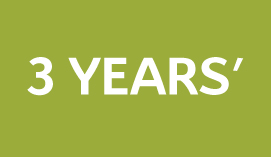 green background 3 years written