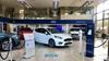 Cars inside the Ford Burnley dealership
