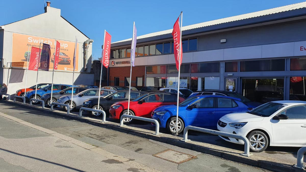 Cars outside the Vauxhall Plymouth dealership