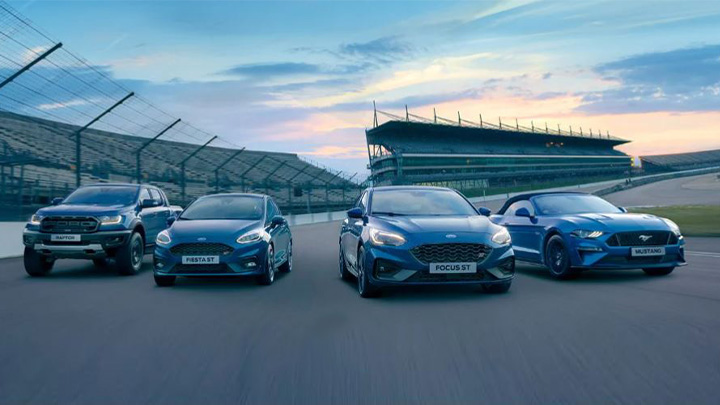Ford Performance range of cars, driving on track