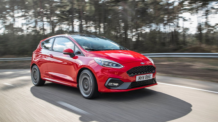 Red Ford Fiesta ST, driving