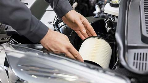 Ford air filter being changed