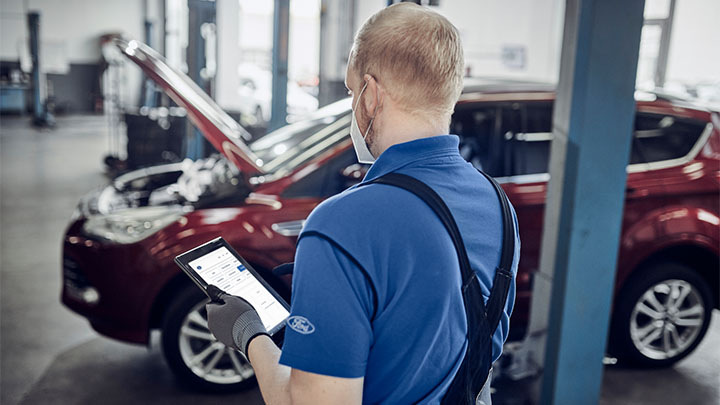 Ford technician performing visual health check