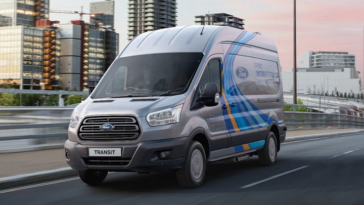 ford mobile servicing van, driving