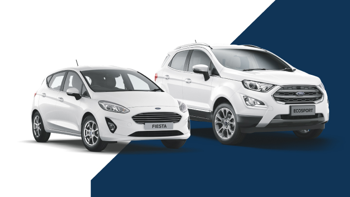 white ford focus and white ford ecosport