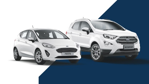 white ford fiesta and white ford ecosport, graphic