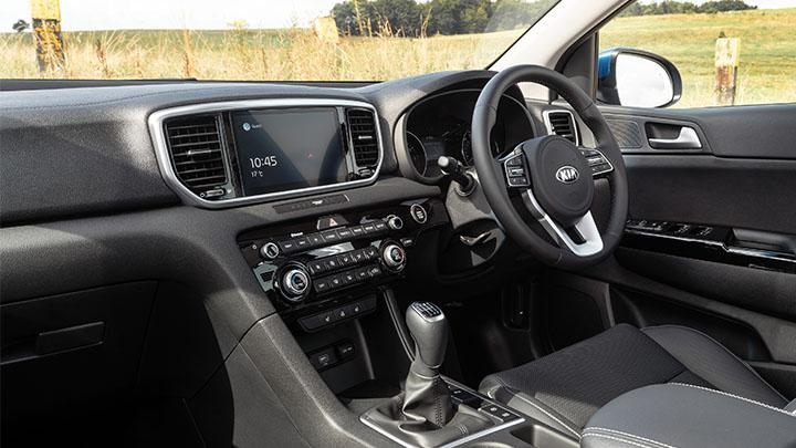 Blue Kia Sportage, interior