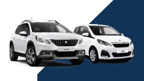 white peugeot 108 and white peugeot 2008