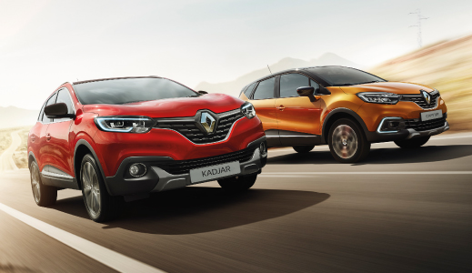 Red and Orange Renault Kadjar and Captur