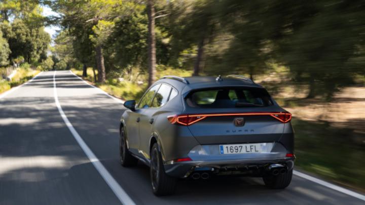 Grey CUPRA Formentor Driving Rear