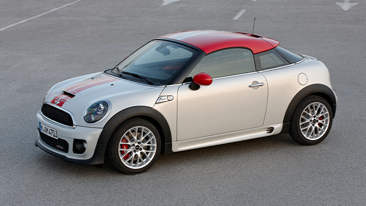 Two-Tone MINI Coupe, parked