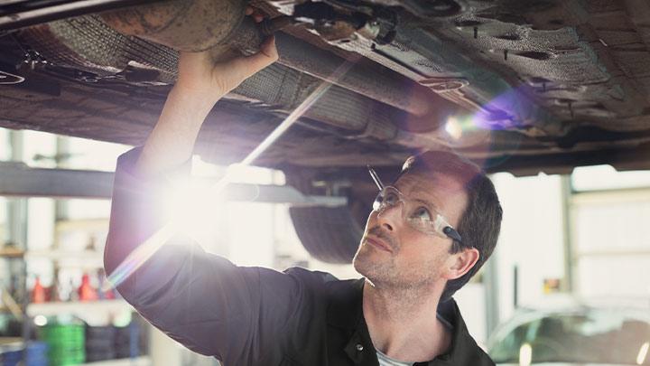 Vauxhall technician performing visual health check