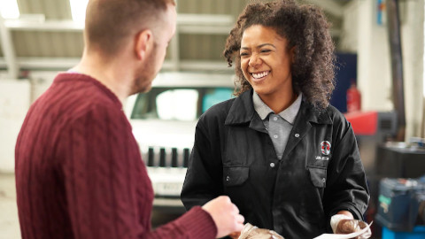 Vauxhall Technician with Customer