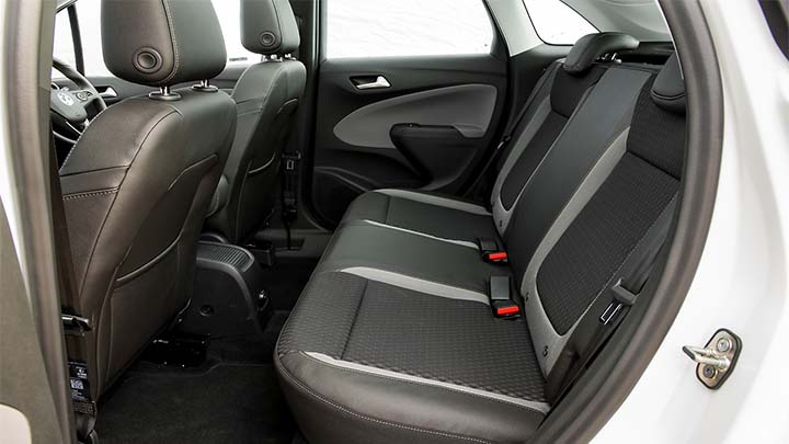 white vauxhall crossland x, rear seats