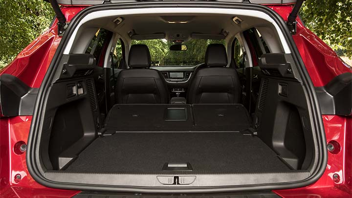 red vauxhall grandland x, boot with rear seats folded