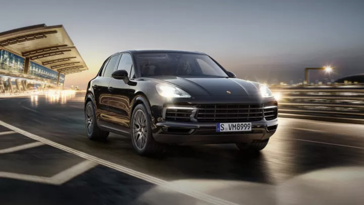 Porsche Cayenne on the road.